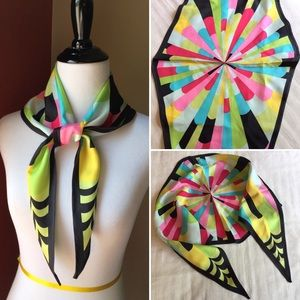 Vintage psychedelic colorful pattern head scarf